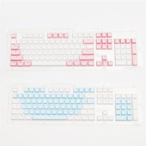 Image 3 - أغطية مفاتيح PBT شفافة بإضاءة خلفية 104 مفتاح غطاء لوحة المفاتيح الميكانيكية غطاء مفتاح مزدوج النار لكرز MX