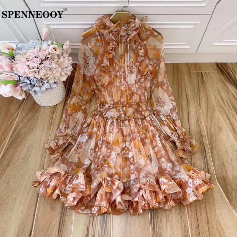 SPENNEOOY Designer Custom Runway Female Summer Vintage Silk Short Dress Lantern Sleeve Ruffles Elastic High Waist Mini Dresses