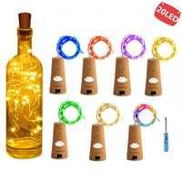 Гирлянды светодиодный винный бутылка с пробкой 20 светодиодный гирлянда в бутылке батарея пробки для вечерние Свадебные Рождественские укр...