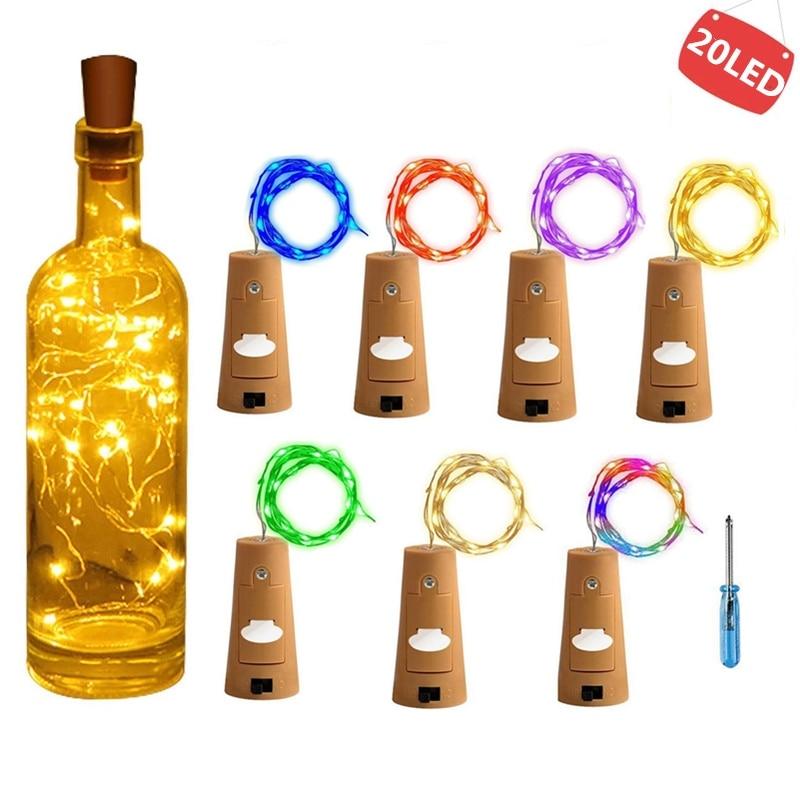String Lights Led Wine Bottle With Cork 20 LED Bottle Lights Battery Cork  For Party Wedding Christmas Halloween Bar Decoration