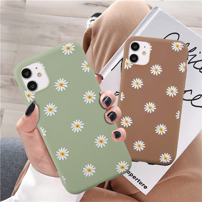 Ottwn Colorful Daisy Flowers Phone Case For iPhone 12 Pro Max 11 Pro Max X XR XS Max 7 8 6 6s Plus SE 2020 Soft TPU Back Cover