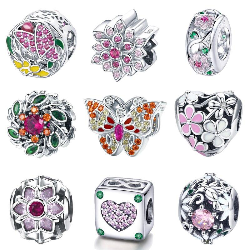 BISAER 925 Sterling Silver Openwork Flower Spring Flower Charm For Silver Charms  Bracelet Girlfriend Valentine Gifts GAC039