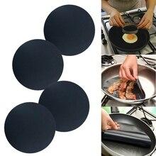 10Pcs BBQ Frying Pan Mat Non-Stick 24cm Round Heat-Resistant Liner Sheet Baking Mat Kitchen Baking Pan Pad