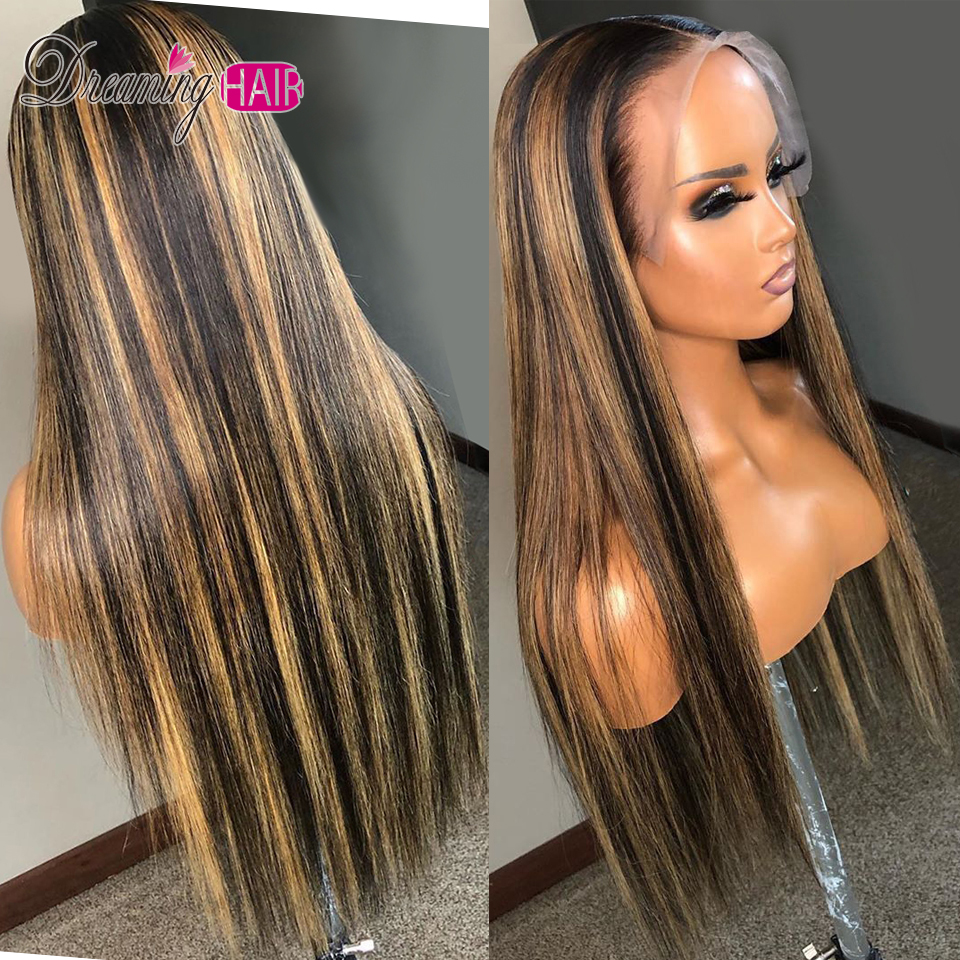 H8d4c9c7d0b15420799aec66007420061R Highlight 13x6 Deep Part 1B 27 Ombre Honey Blonde Brazilian Straight Hair Lace Front Human Hair Wigs Pre Plucked With Baby Hair