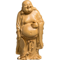 Wood Buddha statue Laughing bouddha home decoracion buddhist maitreya buda estatua monk carving Sculptures