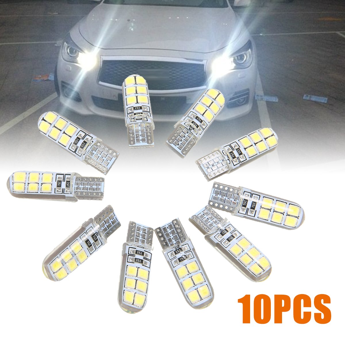10PCS T10 Led Car Interior Bulb Canbus Error Free T10 White 2835 <font><b>12</b></font> <font><b>SMD</b></font> LED 12V Car Side Wedge Light White Lamp Bulb image