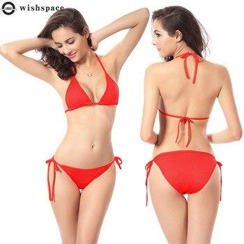 wishspace Hot Sale Women  Bandage Bikini Solid Color Swimsuit Low Waist Triangle Swimwear Sexy beach style swimsuit low back surplice swimsuit