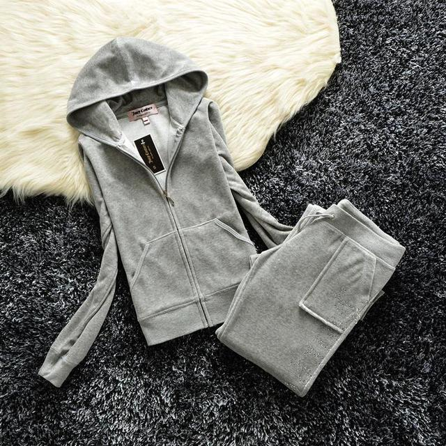 2021 Women's Brand Velvet  Spring/Fall Fabric Tracksuits Velour Suit Hoodies Zipper Sweatshirt And Pants Fat Sister Sportswear 3