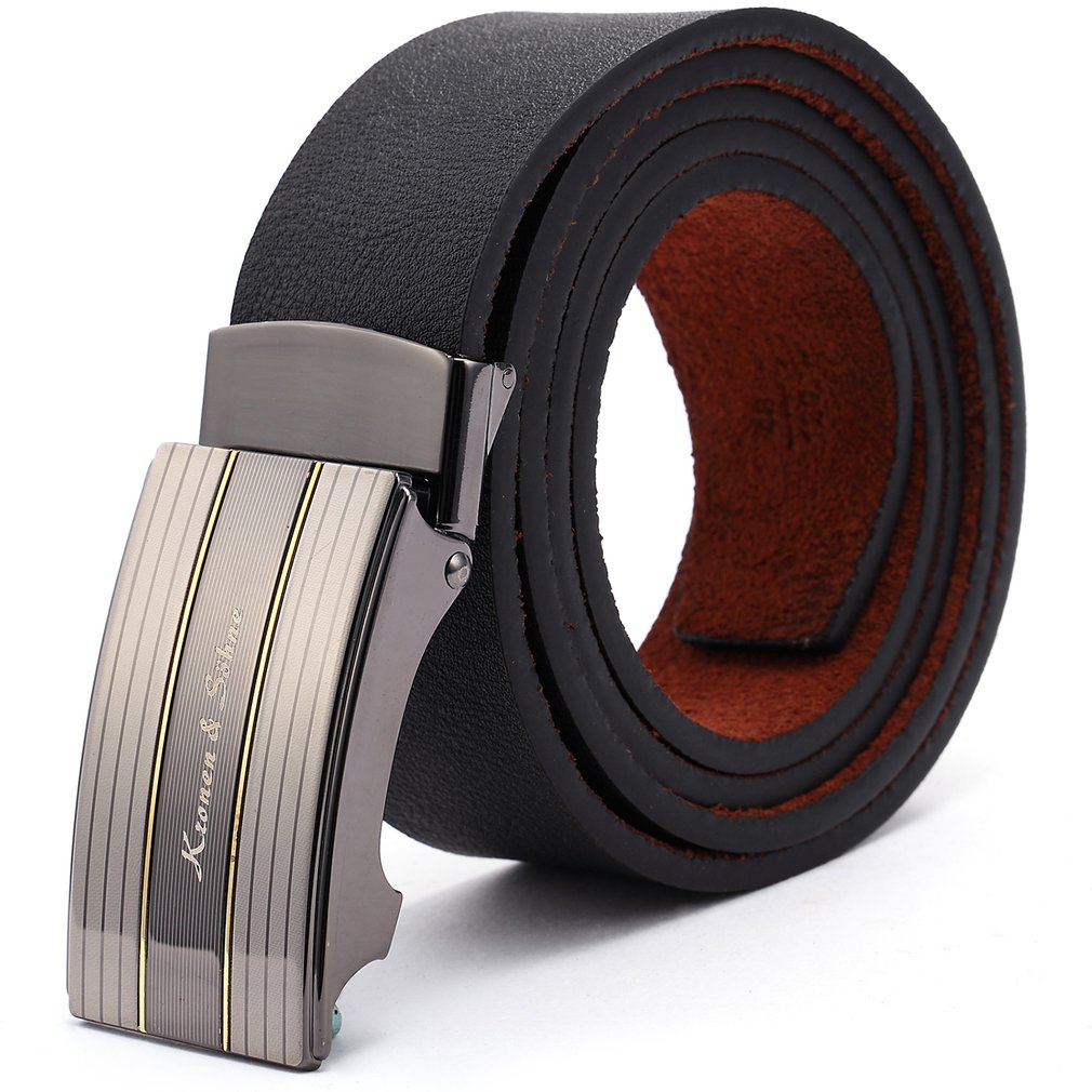 Brand New Business Authentic Elegant Black Men's Genuine Leather Automatic Lock Belt Fit 20-49 Inches Adjustable Length /KB032