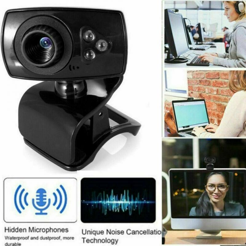 Camera With Microphone Webcam USB 2020 NEW Full HD 50MP 3 LED Video For PC Laptop Clip-on Built-in Microphone