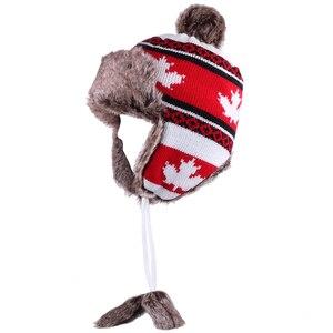 Image 3 - Sombrero de lana de invierno para mujer, gorro de lana tejida para nieve con Pompón, hoja de arce, gorra de aviador, orejeras de piel de zorro, forro polar ruso Ushanka