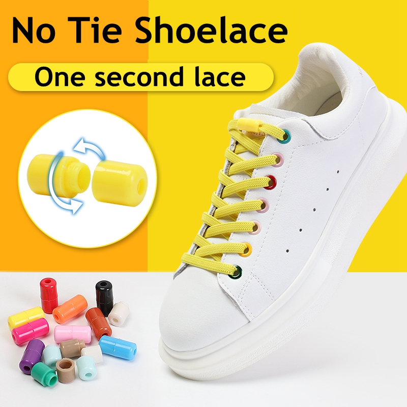 1 Pair Thick Shoelace Fast Lock Buckle Cordless Tie No Need Tie Flat Shoelaces