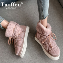 Taoffen Real Leather Women Snow Boots Warm Fur Winter Shoes Woman Fashion Platform Plush Short Boot Footwear Size 34-42