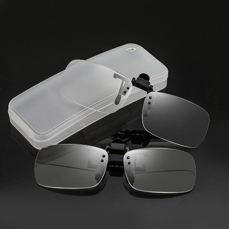Портативные очки для чтения с клипсой для мужчин и женщин, мужские пресбиопические очки, гибкие очки для чтения без оправы, мужские диоптрич...
