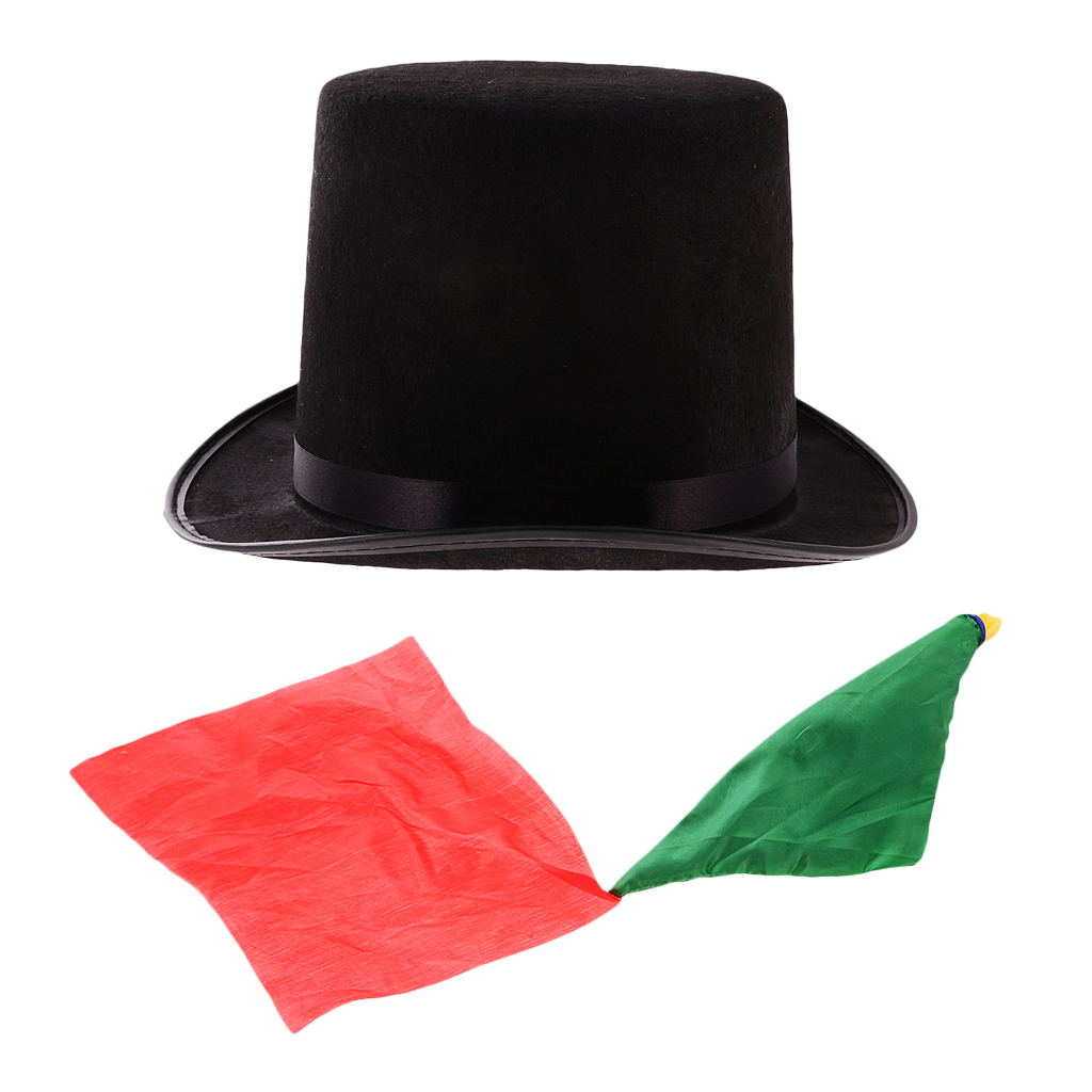Jazz Hat Scarf Cylinder-Hat Topper Magician Derby Change-Color High-Top Black Performing-Prop title=