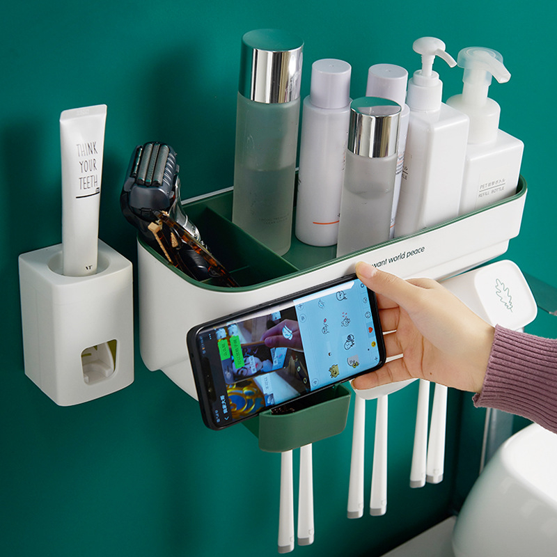 Toothpaste Toothbrush Holder Bathroom Accessories Punch Free Automatic Toothpaste Dispenser Holder Bathroom Storage
