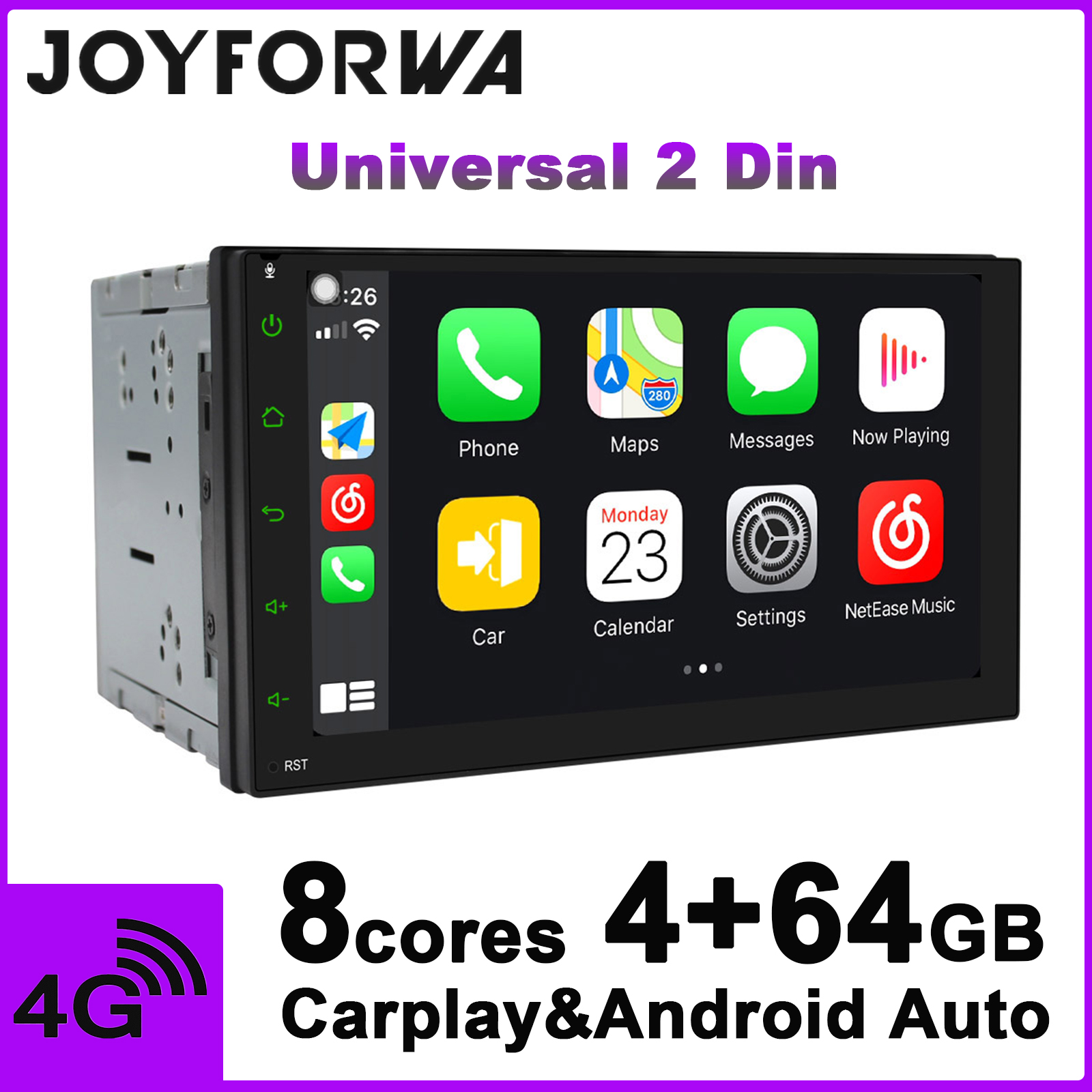JOYFORWA Car Radio Android 8.1 4GB 64GB Octa Core 10.25 Inch Single DIN In-Dash Head Unit with Zlink and Android Auto