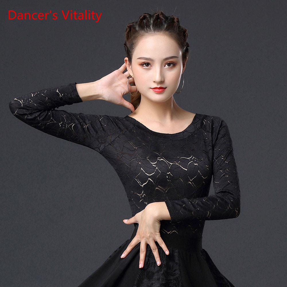 Latin Dance Performance Clothes Female Adult Sexy Top New Long Sleeve Lace Shirt Profession Competition Practice Clothing