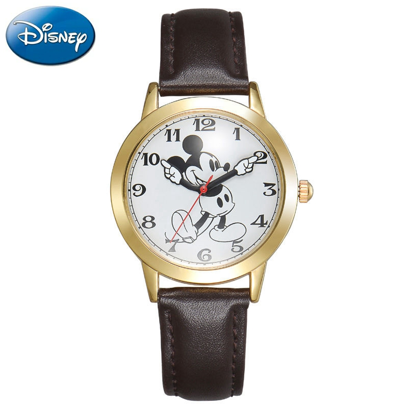 Original Disney Mickey Mouse Student Watch Fashion Top Brand Wristwatches Cute Watches Girl Boy Clock Ladies Leather Watches