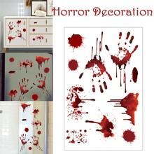 Horrible Halloween Bloody Handprint Stickers Wall Window Door Floor Decal Stickers Halloween Party Decor Haunted House Prop#p tanie tanio ISHOWTIENDA CN(Origin) 0804 Cartoon animal