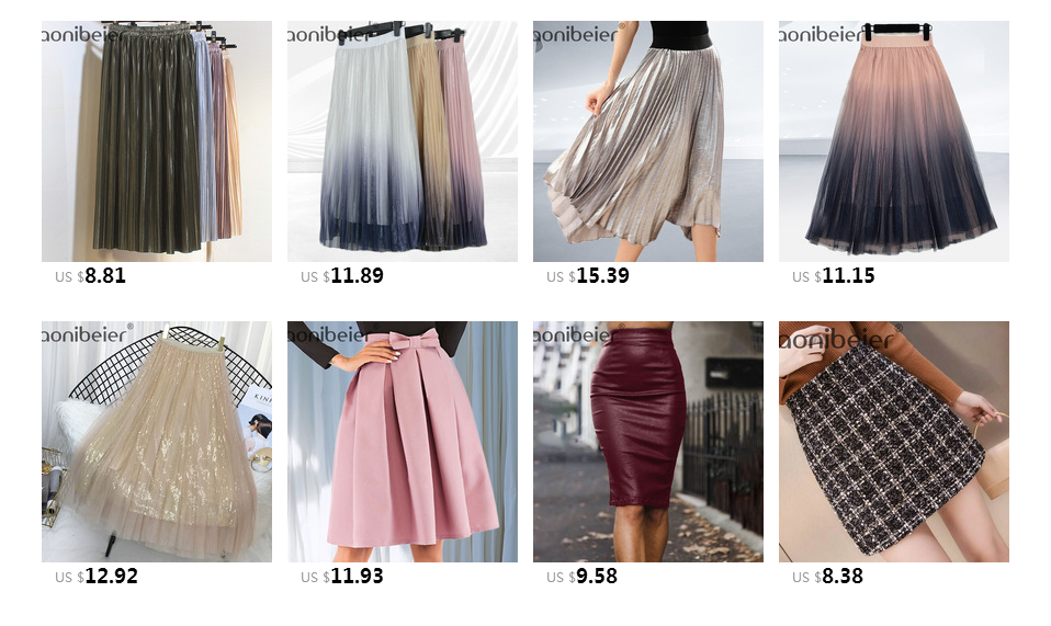 Aonibeier Fashion Women's High Waist Pleated Solid Color Length Elastic Skirt Promotions Lady Black Pink Party Casual Skirts 73