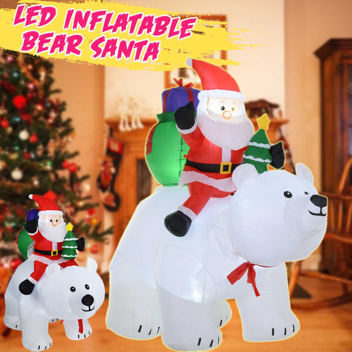 LED Glowing Inflatable Santa Claus Riding Polar Bear Christmas Inflatable Doll for Kids Gift Toys Garden Outdoor Home Decor