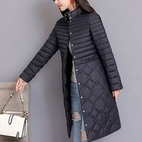 Winter Quilted Long Padded Cotton Jacket Women Parka Stand Collar Female Parkas Plu Size 5XL 2019 Autumn Thicken Warm Coat Woman
