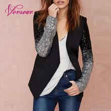 Versear, Женский Роскошный Блейзер, пальто, сверкающие блестки, с длинным рукавом, Блейзер, элегантный, OL, пиджак, деловой костюм, весна, осень, верхняя одежда