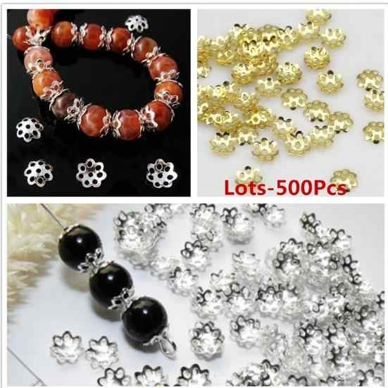 500pcs Stainless Steel Flower Bead Caps End Caps Accessories for DIY Jewelry 6mm