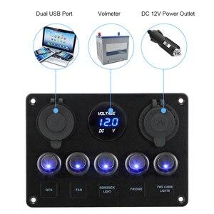 Image 4 - 12V Socket Combination Digital Voltmeter Dual USB Port Waterproof For Car And Marine LED Rocker Switch Panel