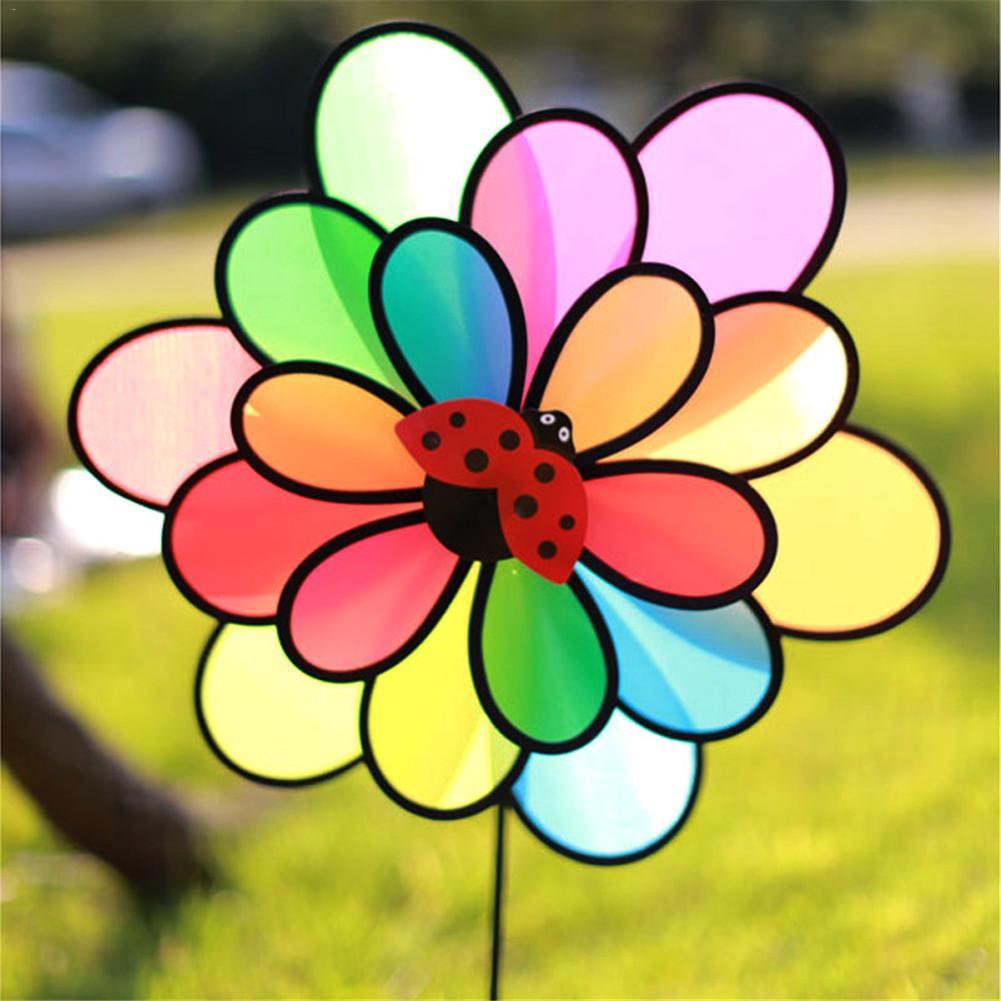 2019 New Arrivials Colorful Rainbow Dazy Triple Wheel Flower Spinner Wind Windmill Garden Yard Outdoor Decor Kids Toys