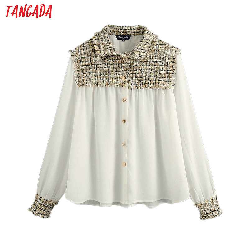 Tangada Women Plaid Patchwork White Shirts 2020 New Arrival Long Sleeve Solid Female Casual Blouses BE571