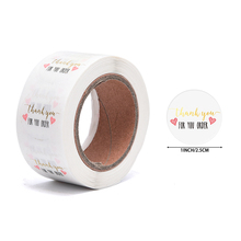 500pcs/roll Round Thank You Sticker Scrapbooking For Package Seal Labels Custom Sticker Decoration Wedding Stickers