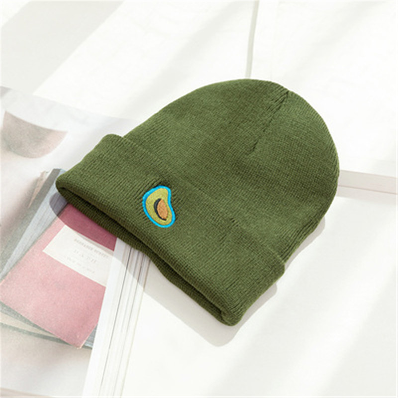 Winter Sales Short Paragraph Unisex Avocado Knitting   Beanies   Caps for Women INS Trend Green Cool Hats Model Drop Shipping W60