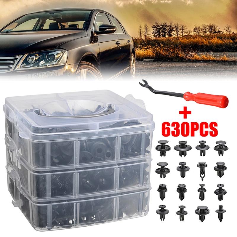 630Pcs Car Body Panel Bumper Rivets Trim Push Pin Clips Retainer Fastener Kit