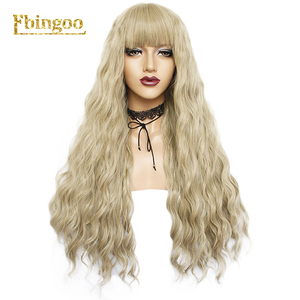 Image 4 - Ebingoo Long Deep Wave White Synthetic Wig with Neat Bangs for Women High Temperature Fiber for Cosplay