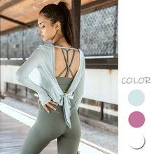Women Loose Sports Pullovers Sexy Hollow Out Back T-shirt with Bandage Casual Yoga Running Tops Female O-neck Crop Tops sexy hollow high neck stripe pattern t shirt