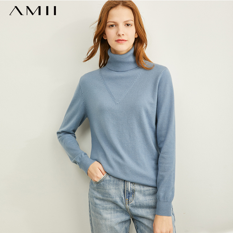Amii Winter Fashion Solid Turtleneck Soft Creamy-blue Sweater Women Causal Full Sleeves Soft Knit Pullover Tops 11970812