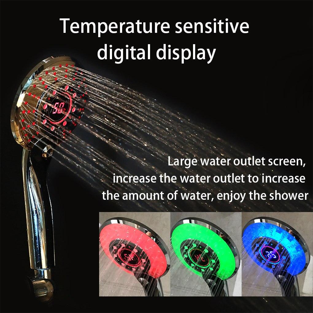 LED Душ Насадка Цифровой Температура Контроль Дождь Ванна Головка Душ Распылитель Фильтр Для Вода Распыление Режим Ванная Аксессуары