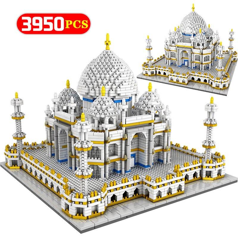 3950 pièces diamant Mini blocs mondialement célèbre Architecture Taj Mahal 3D modèle blocs de construction briques jouets éducatifs pour enfants cadeaux