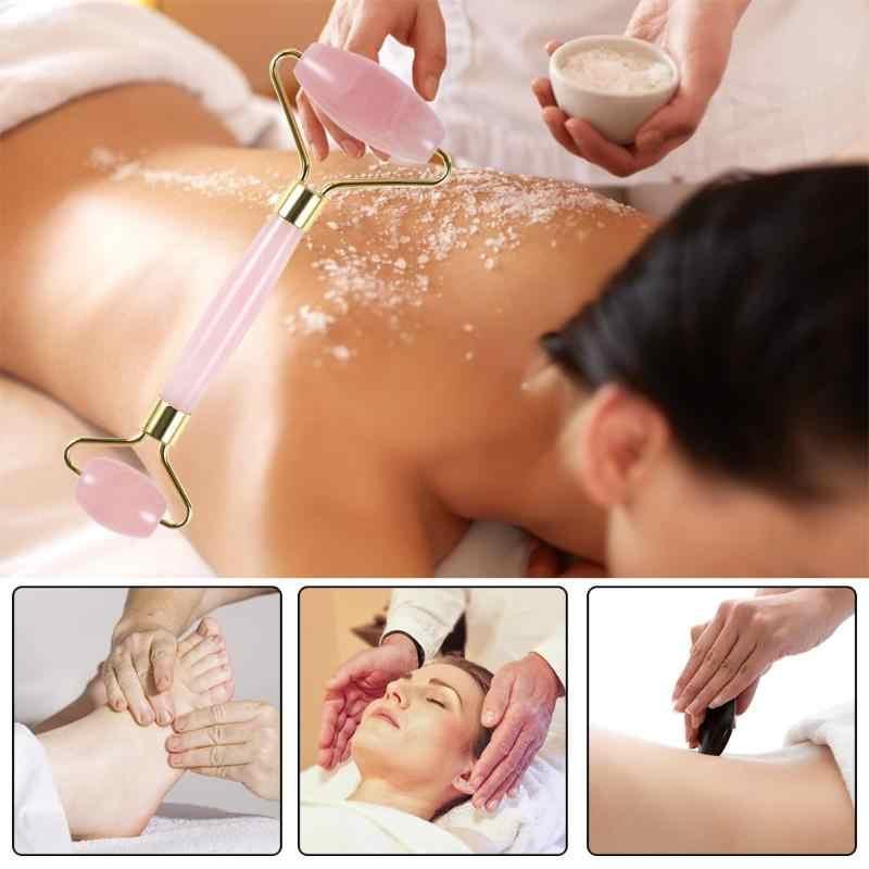 Natuurlijke Rozenkwarts Gezicht Massage Roller Dubbele Hoofd Afslanken Gezicht Massager Lifting Tool Gezicht Anti Rimpel Verwijderen Massage Roller