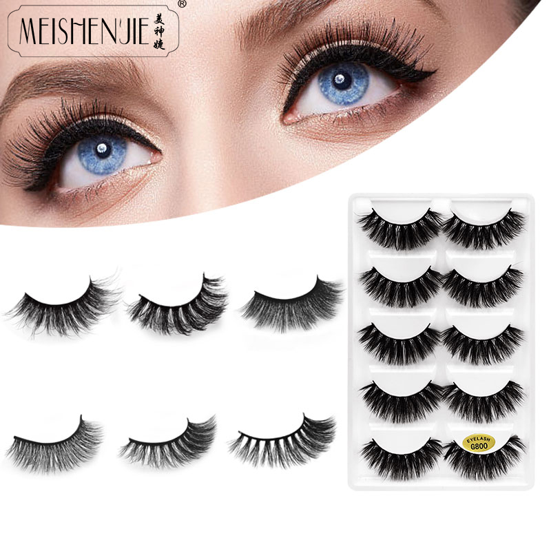 New Fashion 5 Pairs False Eyelashes Natural Long Lashes Mink Eyelashes 3d Mink Lashes Eyelash Extension Cilios Eyelashes Beauty