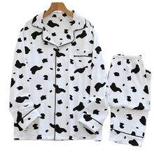 Couples automne nouveau ensemble de pyjamas en coton mignon dessin animé motif de vache imprimé vêtements de nuit hommes et femmes hiver confort vêtements de maison en vrac