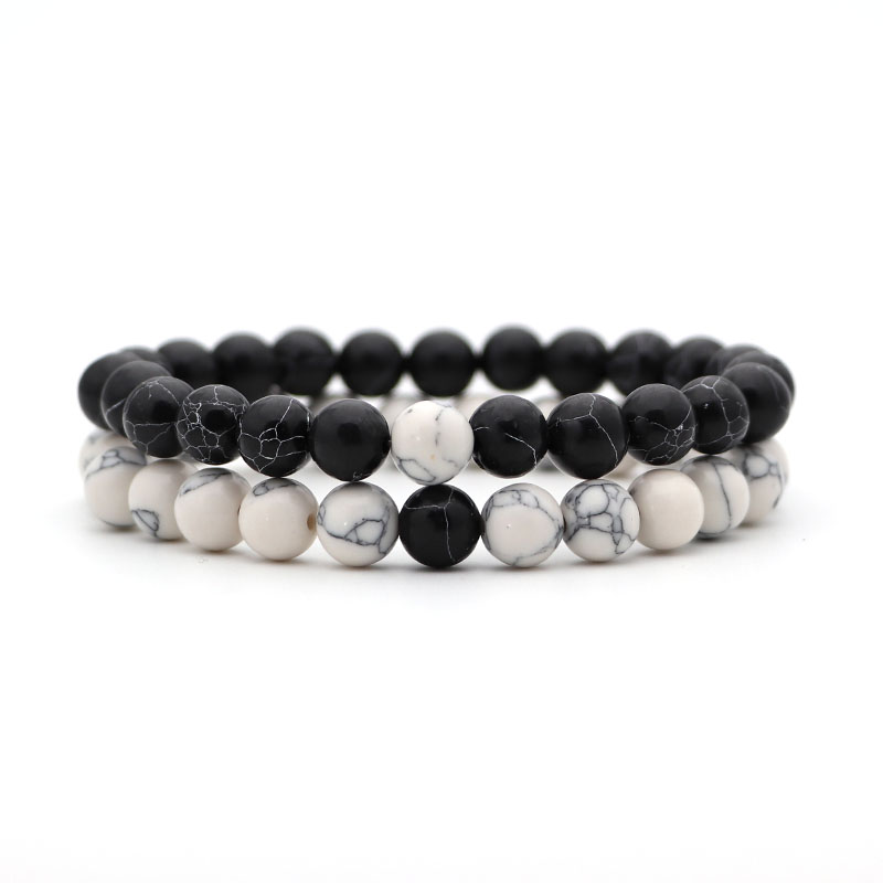2 шт./компл. Для мужчин браслет классический Натуральный камень пары расстояние бело-черные Инь бисером Браслеты для Для женщин Best Friend» - Окраска металла: 13