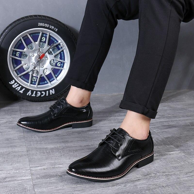 Image 5 - Reetene 革イタリアポインテッドトゥメンズドレスシューズレースアップウェディングパーティー靴男性クラシックレザーメンズスーツ男性オックスフォード正式な靴   -
