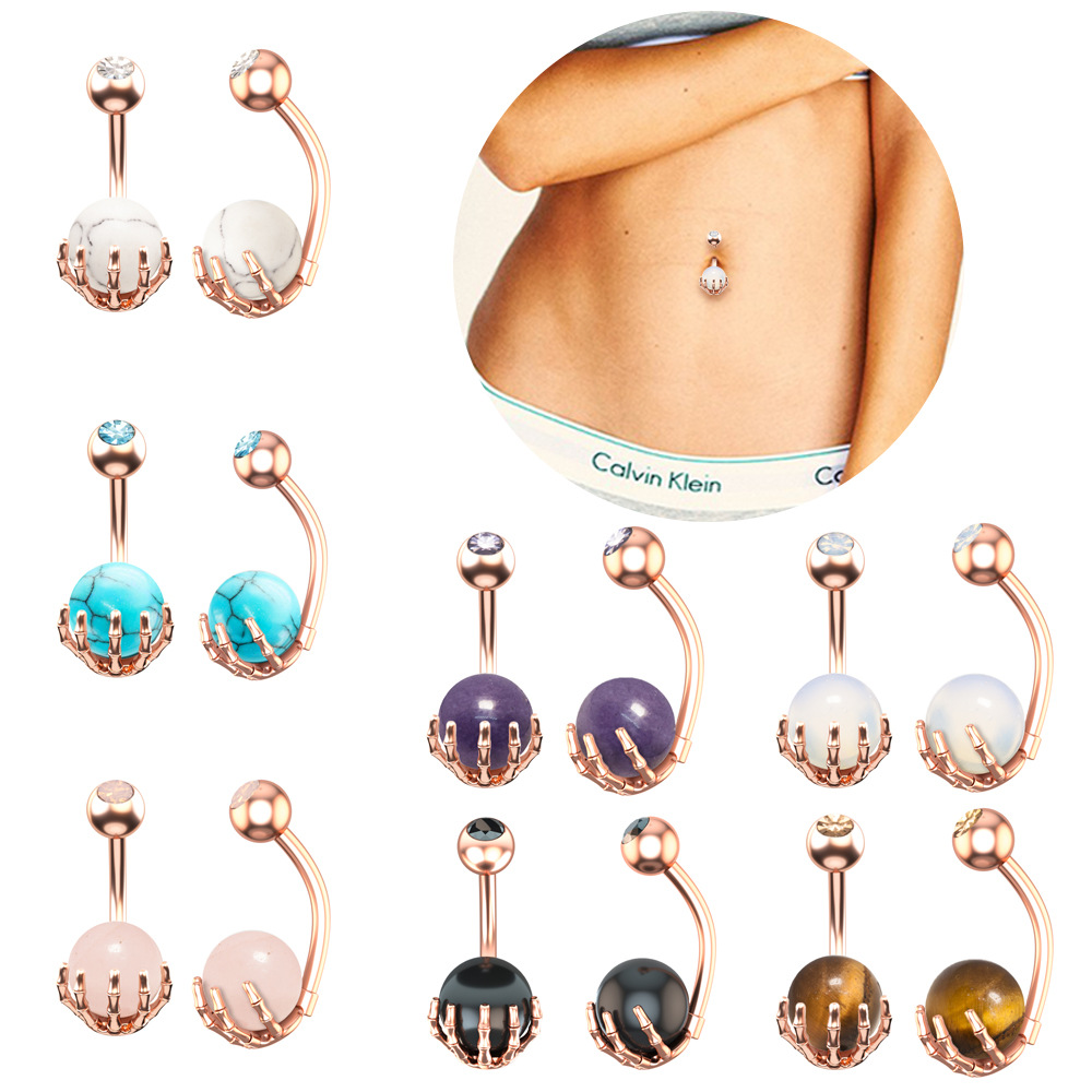 14G Arang wood balls and opalite disc insert Surgical Steel belly ring