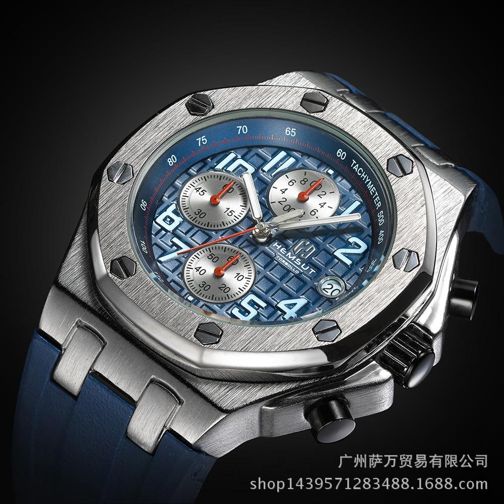 Hemsut Multi-functional MEN'S Watch Quartz Watch Three Eye Waterproof Sports Watch Casual Timing Adhesive Tape