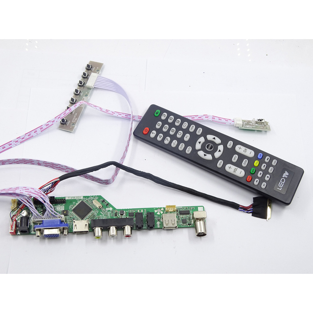 Kit für LP156WH4 TL panel 1366X768 Controller board Kit remote 40pin LVDS LG display TV RF AV USB HDMI DVI VGA LED LCD