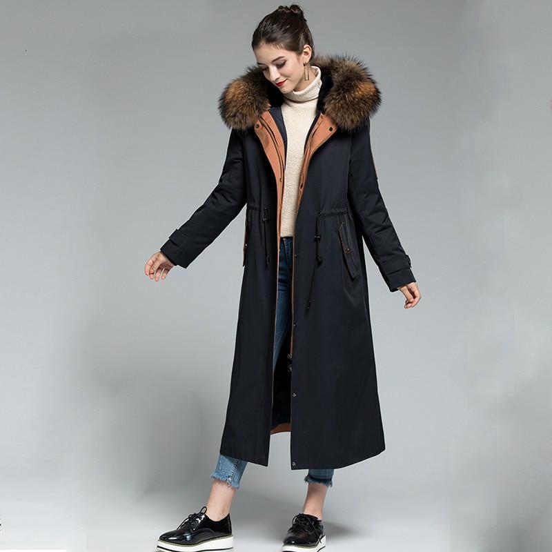 Real Fur Coat Women Rabbit Fur Coat Raccoon Fur Collat Winter Coat Women Real Fur Parka For Women Clothes 2020 Z1801 YY942