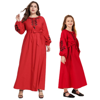 Mother & Daughter Dress Muslim Abaya Embroidery Puff Sleeve Long Dresses Islamic Arab Islamic Clothing Family Matching Outfits